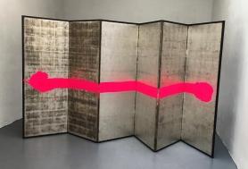 Lucas Perez, Appropriate, 2017, antique folding screen, DayGlo Pigment