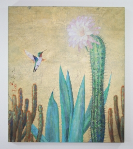 Humming Bird with Cactus, 2012, pigments on gold leaf, 18x24 inches